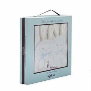 New Kaloo Praline Rabbit Doudou Cotton Blanket Lovey Set of 2