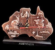 Australian Souvenir Table Desktop Copper Clock Map Cities Kangaroo Koala Decor