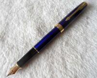 Hi-Q Sonnet Series Parker Pen Blue/Gold Clip 0.5mm Medium Nib Fountain Pen