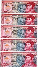 LOT Mexico, 5 x 20 Pesos, 1977, P-64d,  UNC