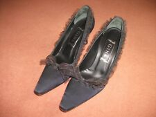 Gina shoes size 4.5 navy blue silk with organza frill ribbon bow, hardly worn.