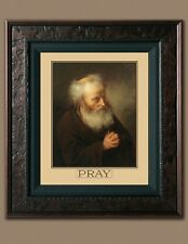 Old Man Praying 8X10 Religious PRAY Picture Print Fine Art Plaque Quote Vintage