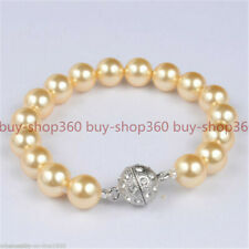 Pearl Beads Knoted Bracelet 7.5''Aaa+ 10mm Round Yellow South Sea Shell