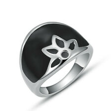 Women Fashion Stainless Steel Charm Black Enamel Leaf Rings Cute Jewelry Size 7