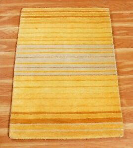 2x3 Ft Handmade Stripped All Wool Indien Handmade Area Rug Hand Tufted