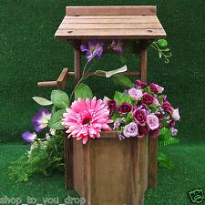 Wooden Wishing Well Planter Pot Garden Flowers Decor Patio Water Fully Assembled