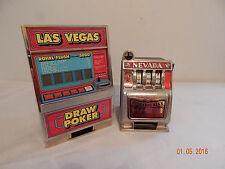 Pair of play toy slot machine Nevada Buckaroo Bank Las Vegas Draw Poker