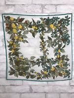 Vintage Small Scarf With Green Boarder and Blueberries and Peaches Print 21x21""