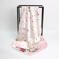 "Women's Pink Vintage Chinese Flower Print Satin-Silk Square Scarf Shawl 35""*35"""