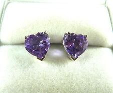 3.24 ct Genuine Heart Shaped Amethyst 925 Sterling Silver Stud/Post Earrings