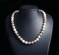 Rare 8/10/12mm Genuine Multicolor Round South Sea Shell Pearl Necklace 18'' AAA