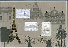 bloc feuillet salon du timbre paris philex 2016 avec tour Eiffel dorée