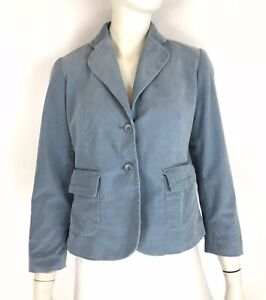 Pendleton Petite Womens Fine Wale Corduroy Blazer Jacket Stretch Blue size P