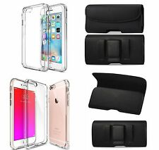 FOR IPHONE SE BELT CLIP LEATHER HOLSTER & TPU Clear PC Back Panel Bumper CASE
