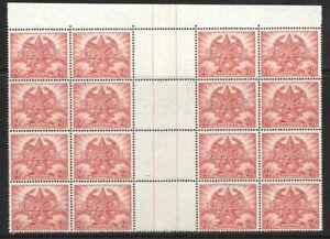 1945 Australia 2.5d 'Peace' Gutter Block of 16 Pristine Mint Never Hinged
