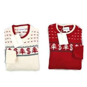 2pc Lot: BRIONI Ivory & Red Crew Neck 100% Wool Holiday Winter Sweaters 54 XL