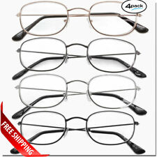 READING GLASSES 4 Pair Metal Frame UNISEX CLASSIC STYLE LENS READERS ALL POWERS