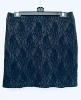 M & S Black & Grey Lined Lace Short Mini Skirt Generous Size 8 will fit a 10