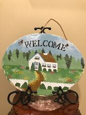 Cape Cod Stencil Co Oval Welcome Outdoor Sign Slate HoUse Scene NWT