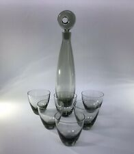 Per Lutken Holmegaard Aristokrat Smoke Glass Decanter & 6 X Elsinore Tumblers