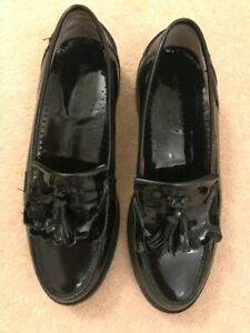 Russell & Bromley Black Patent Leather Tassel Loafers Flats Shoes UK 5 EUR 38