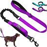 Dual Handle Dog Lead No Pull Bungee Leash Reflective Pet Nylon Rope Purple Blue