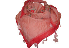 """NEW"" TRANSAT BOUTIQUE CHECHE ECHARPE FOULARD CARRE ""HAPPY FEW"" FLEUR SOIE ROUGE"