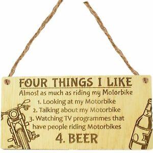 Man Cave Motorbike Biker Dad Gift For Him Hanging Plaque Sign Harley Beer Gifts