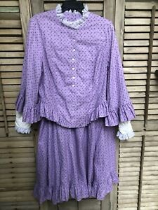 Recollections Prairie Pioneer Victorian Lavender Costume Dress Sz XL Historical