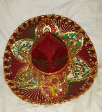 KIDS RED GREEN GOLD WHITE MEXICAN HAT SOMBRERO HAND MADE BY BELRI