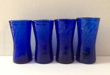 "Lot (4) Vintage Cobalt Blue Glass Beer Fruit Mug Cup 5"" Tall"