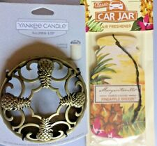 PINEAPPLE BRASS YANKEE CANDLE ILLUMA-LID JAR TOPPER + PINEAPPLE BREEZE CAR JAR