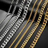 3/5/7/9/11mm Stainless Steel Silver/Gold Men Cuban Link Necklace Chain 16-24inch