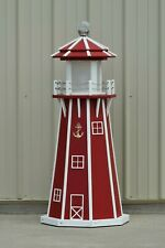 4 Foot Octagon Electric and Solar Powered Poly Lighthouse, Red/white trim