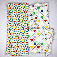 VTG Heart Print Bedding Fitted Twin Sheet & 2 Panel Pair Curtains Hearts Retro