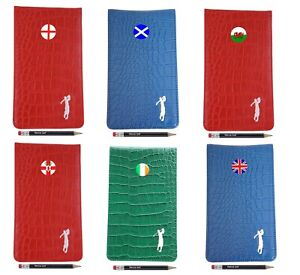 Patriotic Crocodile Leather Scorecard & Yardage Book Holder by Mercia Golf