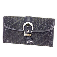 Dior Wallet Purse Trotter Black Silver Woman unisex Authentic Used T2627