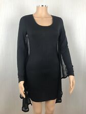 House Of Dereon Beyonce Black Bodycon Chiffon Cape Mini Dress Xmas Party XS