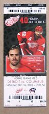 Red Wings Henrik Zetterberg Wings Game ticket Dec 31, 2007 $76 face value