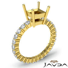 Diamond Engagement Eternity Style Ring Asscher Semi Mount 18k Yellow Gold 0.8Ct