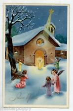 Angeli Bambini Neve Gesù Stella Cometa Presepe Natale Child Angels PC Circa 1930