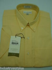 Cutter & Buck Men's Yellow Button Down Wrinkle Resistant SS Shirt Size Small