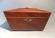 English Antique Mahogany Sarcophagus Shaped Tea Caddy. Three Divisions. Elegant