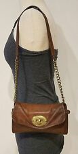 vintage fossil maddox brown leather shoulder bag purse turnlock