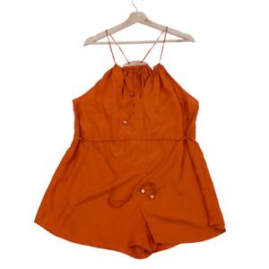 Zimmermann | Sz 1 | Burnt Orange Pure Silk Lightweight Halter Playsuit Romper