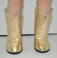 "Fits Our Generation American Girl 18"" Dolls Clothes Shoes Gold Cowboy Boots"