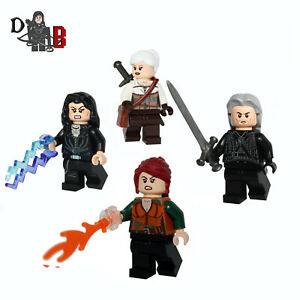 The Witcher 3, 4 Pack of Minifigures inc. Made using LEGO and custom parts.