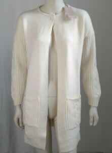 Cappotto maglia donna lungo un bottone Lana e cashmere bianco HEKLA & CO. TG L