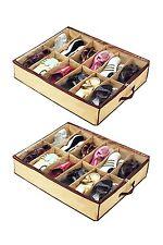 2 pcs Shoe Box 12 Pocket Under Bed FoldableContainer Storage Organizer Holde