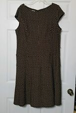 Jones Studio Women's Dress ~ Sz 18W ~ Brown ~ Polka Dots ~ Lined ~ Knee Length